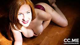 Camille Crimson in Redhead In Burgundy Lingerie