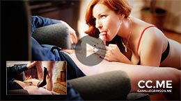 Camille Crimson in Seductive Legs in High Heels and an Erotic Blowjob