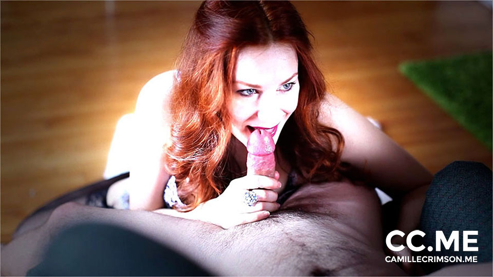 Redhead Deep Throat in Beautiful Lace Lingerie